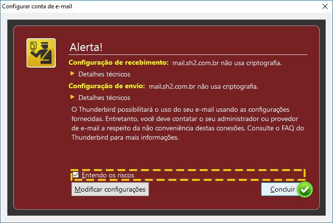 configuração email thunderbird